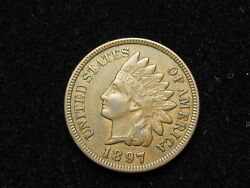 Must Go Sale Au 1897 Indian Head Cent Penny W/ Full Liberty And Diamonds 67a