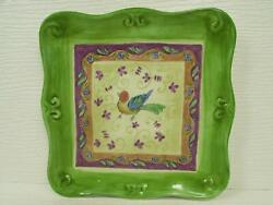 Tuscan Gardens By Sango Square Salad Plate Bird Center Green Embossed Scrolls