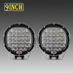 Pair 9inch 370w LED Driving Light Round Spot Flood BAR Offroad For GMC Red