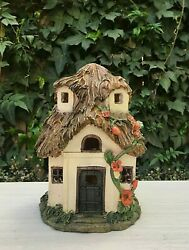 Miniature Fairy Garden Gnome 7.5 Mini Thatched Roof House With Solar Light