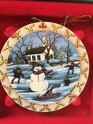 Three Collector Ornaments P Buckley Moss Holly Christmas Trilogy Ornaments
