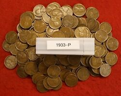 1933-p Lincoln Wheat Cent Penny 50 Coin Roll Av Circ Great Collector Coins Gift