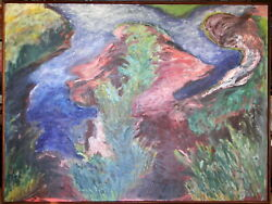 Dr Robin Kingston 1954- Huge Major Original Oil Painting Confluence Of Waters