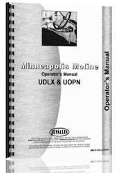 Minneapolis Moline Udlx Uopn Tractor Owners Operators Manual