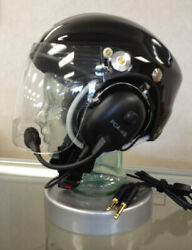 Black Helmet With Pca-4g Headset And Dual Plugs New