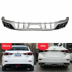 Rear Lower Bumper Diffuser Lip for Mazda 3 Axela Dual Exhaust Guard Protector