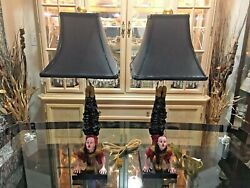 Two Vintage Chinese Acrobat Table Lamps, Oriental, Asian, Rare, 26 Tall, Nice