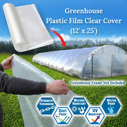 12x25ft Greenhouse Clear Plastic Film 6mil Thicker Polyethylene Covering