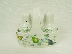 New Antique Countryside By Mikasa Salt And Pepper Set W Caddy Pear Bird Butterfly