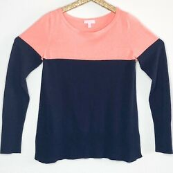 Lilly Pulitzer Women's Sweater Debra Colorblock Coral Navy Blue Top Size Large