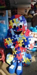 Puzzle Piece Autism Mascot Costume Party Character Kids Birthday Halloween Blue