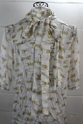 $395 DOLCE & GABBANA White Rope Knot Print Sheer Silk Bow Neck Tie Blouse Top 40