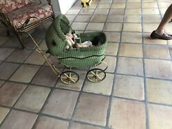 Vintage Baby Doll Carriage Stroller Buggy Wicker