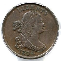 1804 C-7 R-4 Pcgs Vf 35 Spiked Chin Draped Bust Half Cent Coin 1/2c