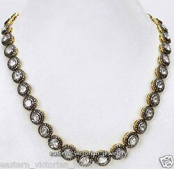 Vintage 12.18cts Genuine Rose Antique Cut Diamond Silver String Necklace Jewelry