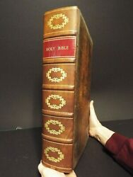 1836 King James Bible - Early American Large Folio - 18 Tall - Respined