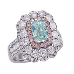 Real 3.34ct Natural Fancy Light Blue & Pink Diamonds Engagement Ring GIA 18K