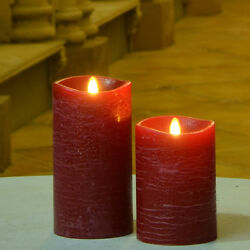 Luminara Flameless Moving Wick Pillar Led Candle With Ripple Rustic Surface