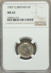 Great Britain 1907 6 Pence Ngc Ms 62 Superb Olive Toning
