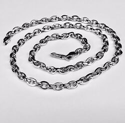 14kt Solid White Gold Handmade Rolo Link Menand039s Chain/necklace 20 40 Grams 5.6mm