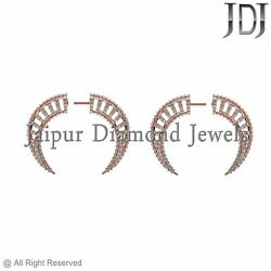 14k Rose Gold Jewelry Pave Set Diamond Tunnel Earrings Antique Fashion Jewelry