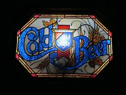 New Vtg Old Style Cold Beer Led Upgrade Faux Stained Glass Bar Light Pub Sign