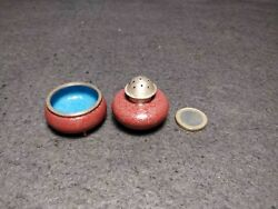 Rare Antique Chinese Cloisonee Miniature Salt And Pepper Shaker Early Xx