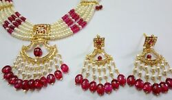 Traditional Necklace With Zircon Stone Pearls Pearl Pink Color Design Set 20k