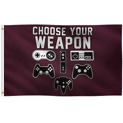 3x5 Foot Choose Your Weapon Gaming Flag Banner Wall / Porch / Yard Decoration