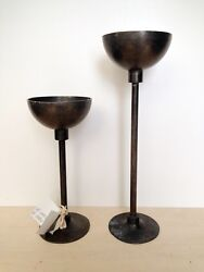 Pair Of Handmade Pewter Candle Holders Stamped Zinn Etain Pur 95, France