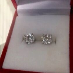 2ct Natural Diamonds Very Good Quality stud Earings Beautiful 14k White Gold