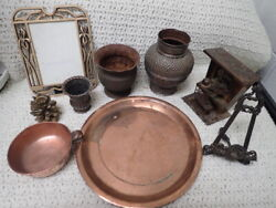 Lot Of 9 Vintage Copper And Brass Planters Plate Vase Book Stand Frame Music Box
