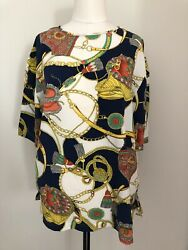 Vintage Womens Chain Scarf Print Italian Style Size L Short Sleeve Blouse Career