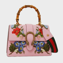 Gucci 448075 DYWTT 8303 Dionysus Bamboo Handle Hand Tote Shoulder Bag Pink