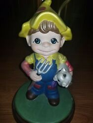 Holland Mold Chalkware Boy With Grand Champion Pig Lamp