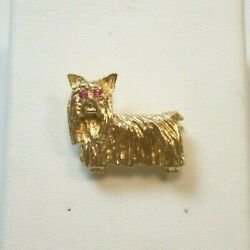 LONG HAIRED YORKSHIRE TERRIER 14K YELLOW GOLD W RUBY EYES PINBROOCH ADORABLE