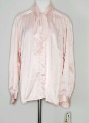 Vintage Evan-picone 70s Pink White Pearl Chain Bow-tie Career Blouse Tops 14