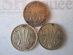 3 Coins 3 Pence Vintage Australia Coin Currency 1942 And 43 Silver  Is223