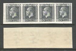New Zealand 1916 1.5d Kgv Surface Imperf Plate Proof Strip Uhm