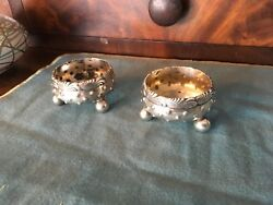 And Co Antique Sterling Silver Ornate Footed Open Salts Matching Pair 1873