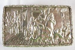 Antique Geo.iii Sterling Silver Cast Top Snuff Box By Ledsam, Vale And Wheeler
