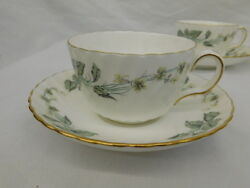 Minton Greenwich Bone China England S705 Flat Cup And Saucer Set Of 4