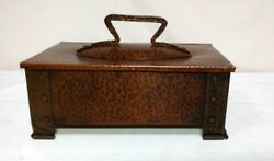 Benedict Studios Hammered Copper Footed Humidor Box Cigars Tobacco Very Nice