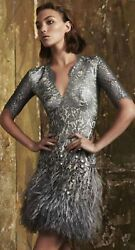 New&Authentic Matthew Williamson Mirror Feather Lace Silver Dress 50% on Sale