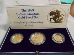 1988 Royal Mint St George Sovereign Gold Proof 3 Coin Set Box Coa
