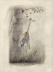 The Heron And The Crane Y.norstein's/norshteyn Animation Original Drawing Crane