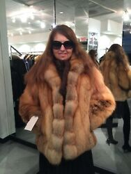 Chicago Fur Mart Size M.gorgeous Brand New W/tags Natural Red Fox Jacket9500.00