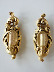 Pair Of Wall Lamps Gold Leaf On Wood Baroque Italian Light