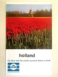 Rare Vintage Mid Century Klm Holland Collector Lithograph Print Travel Poster
