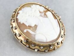 Antique Goddess Diana Cameo Pearl Brooch Pendant